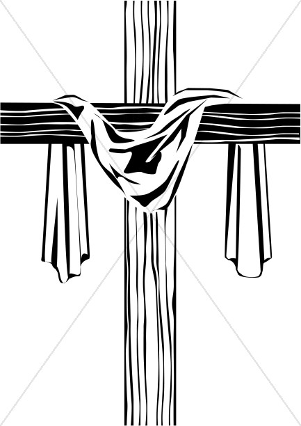 wooden cross clipart black and white #8