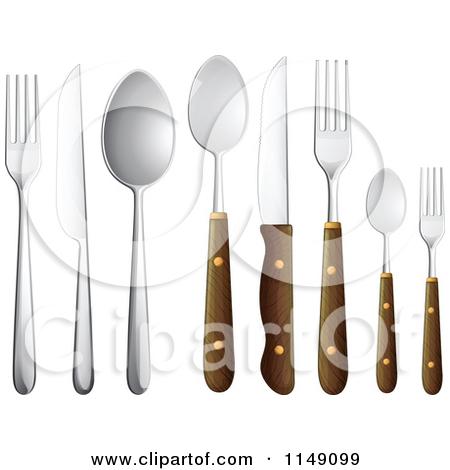 Cartoon Of Wooden Cutlery.