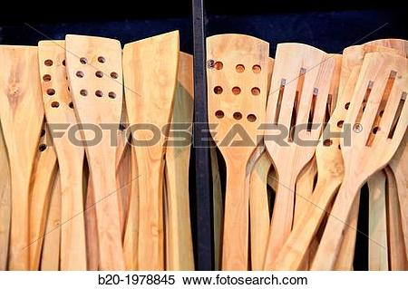 Stock Image of Wooden Cutlery, Bioterra, fair of organic products.