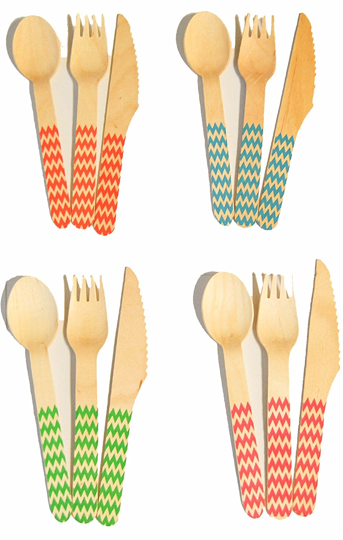 Amazon.com: Perfect Stix Printed Wooden Chevron Wooden Cutlery.