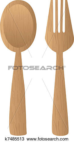 Clipart of wooden cutlery k7485513.
