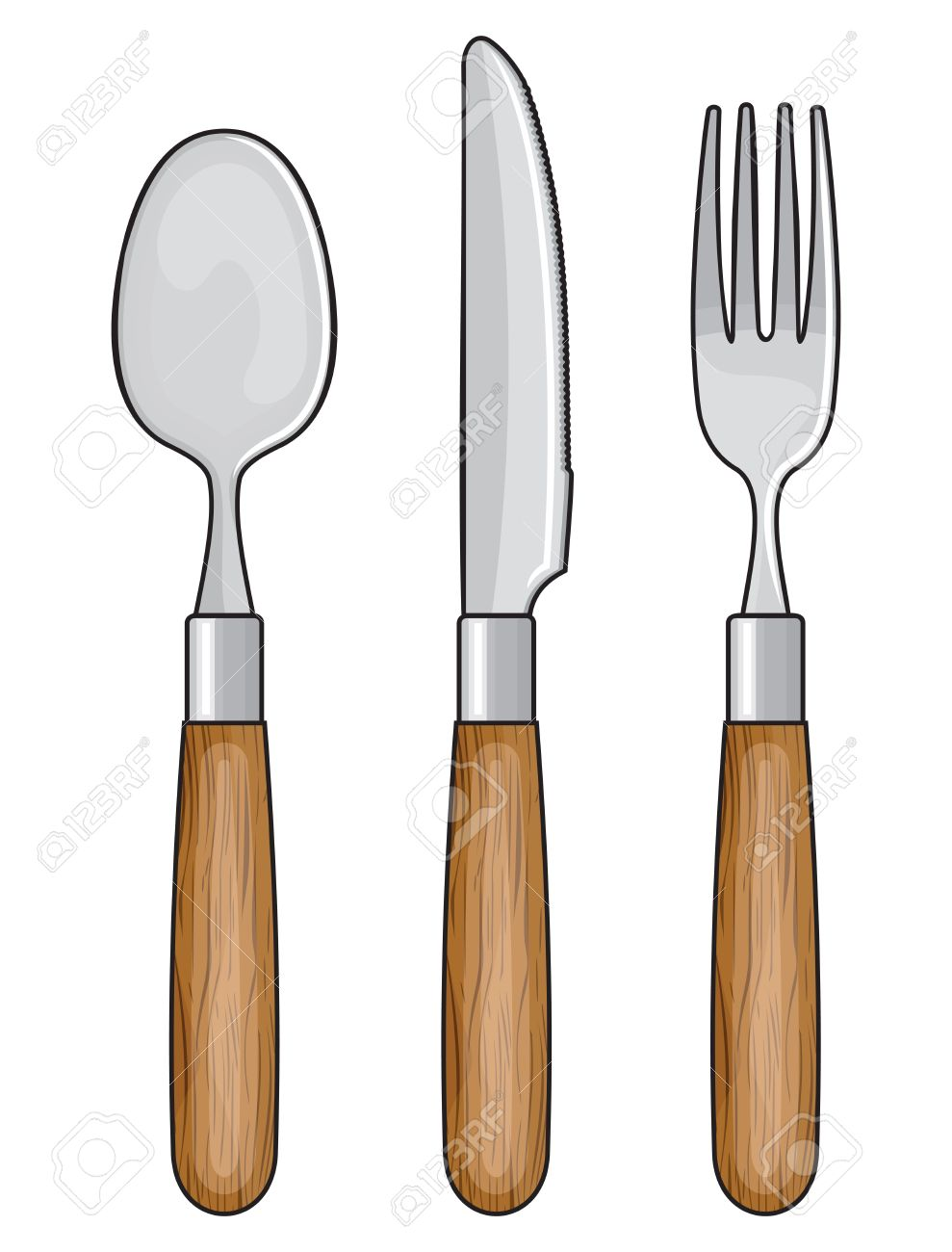 Wooden Knife, Fork And Spoon Royalty Free Cliparts, Vectors, And.