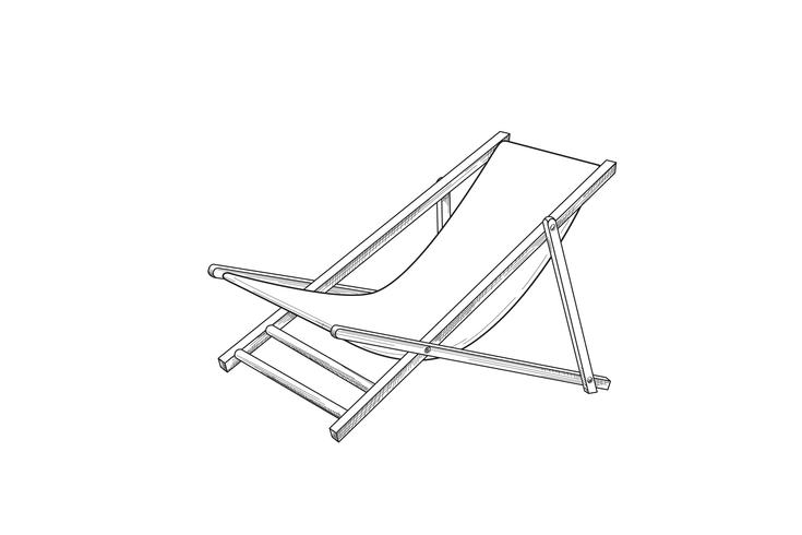Deckchair outline drawing. Deck chair sketch. Summer holiday.