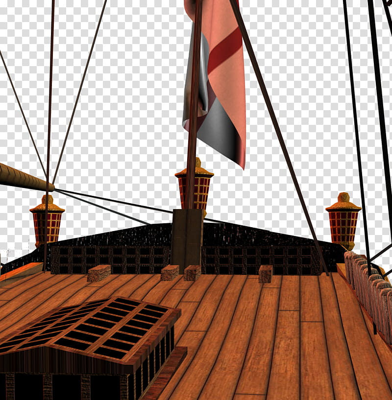 On Deck, brown galleon illustration transparent background.