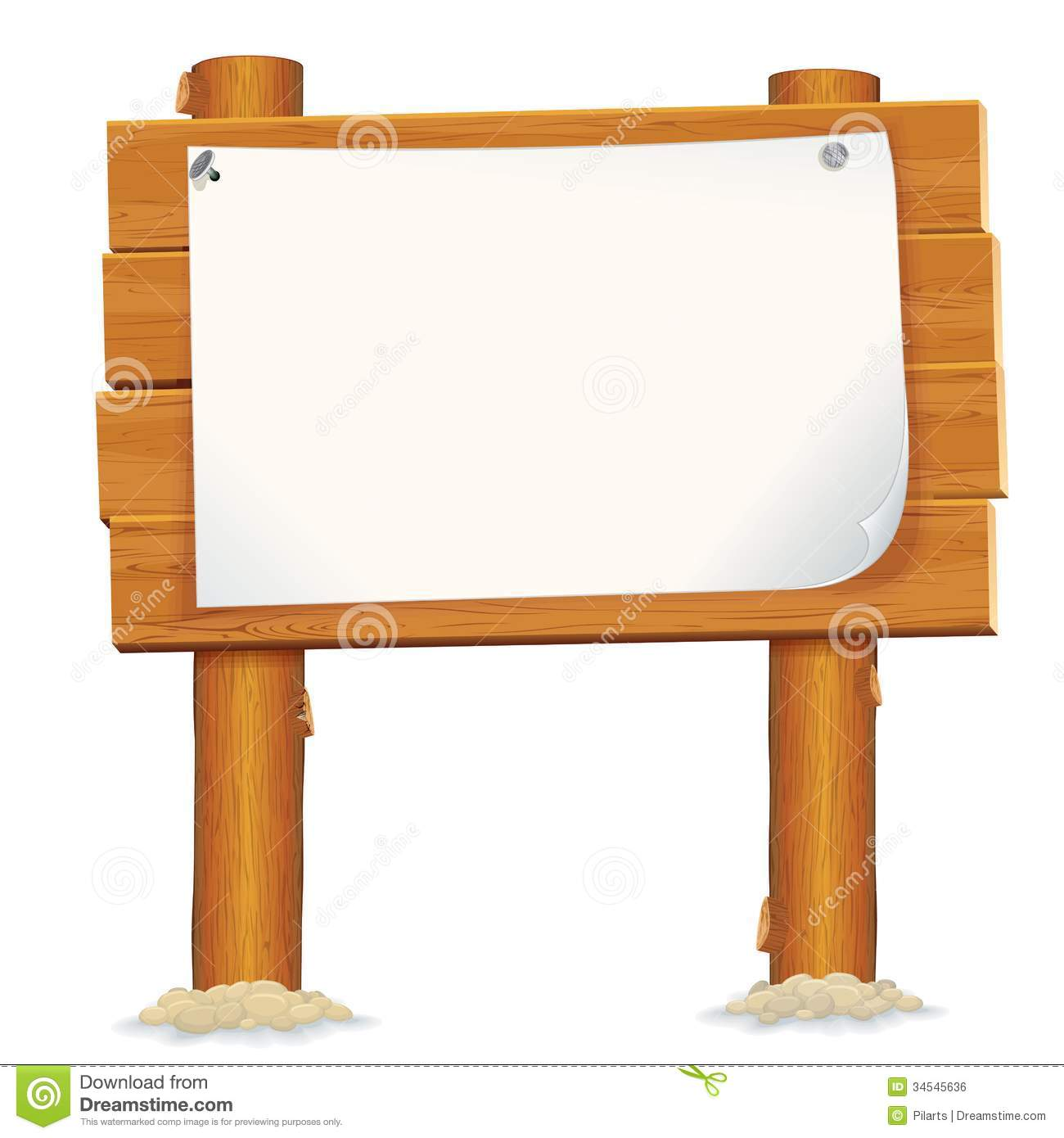 Wooden Billboard Sign With Paper Sheet Royalty Free Stock Image.