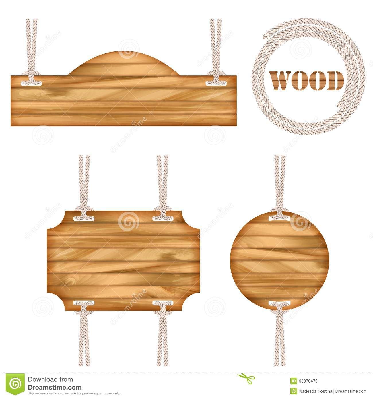 Wood Vector Frame Rope Design Royalty Free Stock Images.