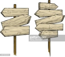 Wooden Direction Signs Stock Vector.