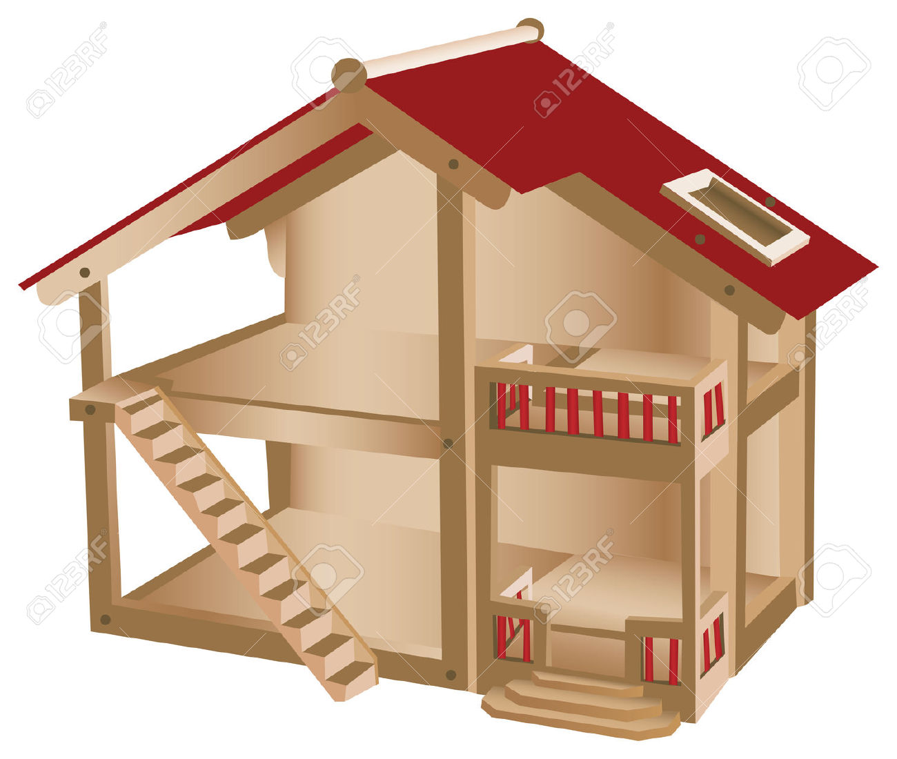 Small Playhouse For Kids. Wooden Miniature House Royalty Free.