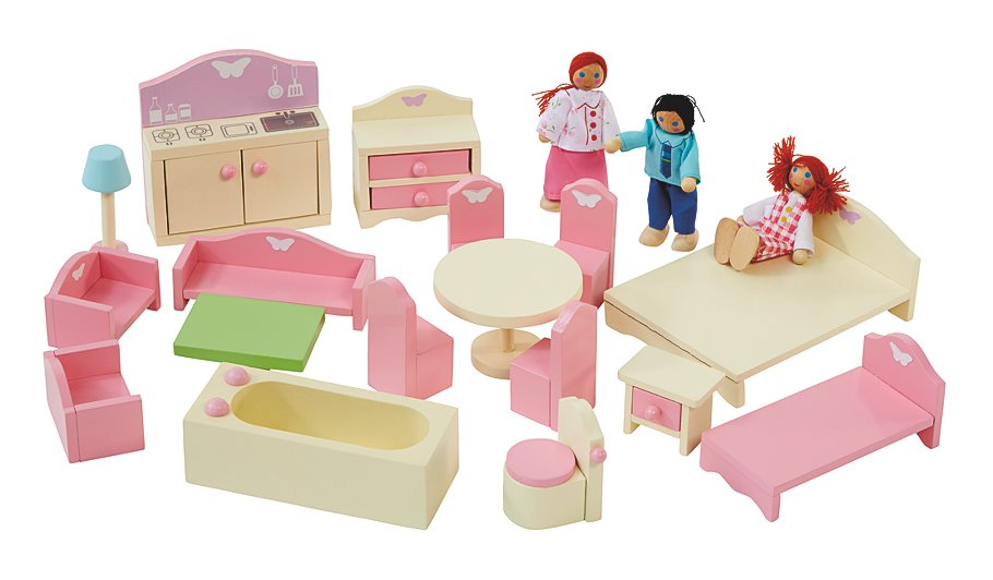 George Home Wooden Doll House Furniture Set.