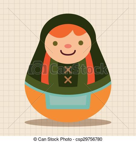 Vector of Matryoshka , Russian traditional wooden doll, vector.