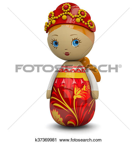 Clipart of Russian Girl Wooden Doll Toy k37369981.
