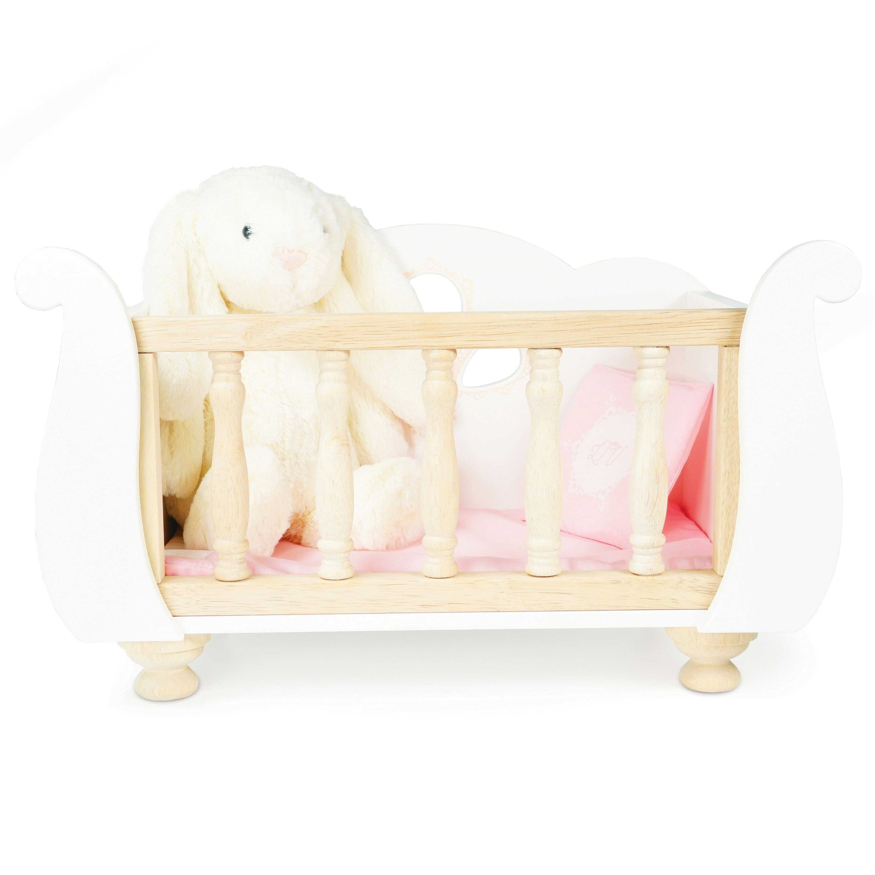 LE TOY VAN WOODEN SLEIGH DOLL COT.