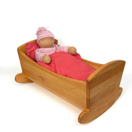 Large Doll Cradle with Bedding.