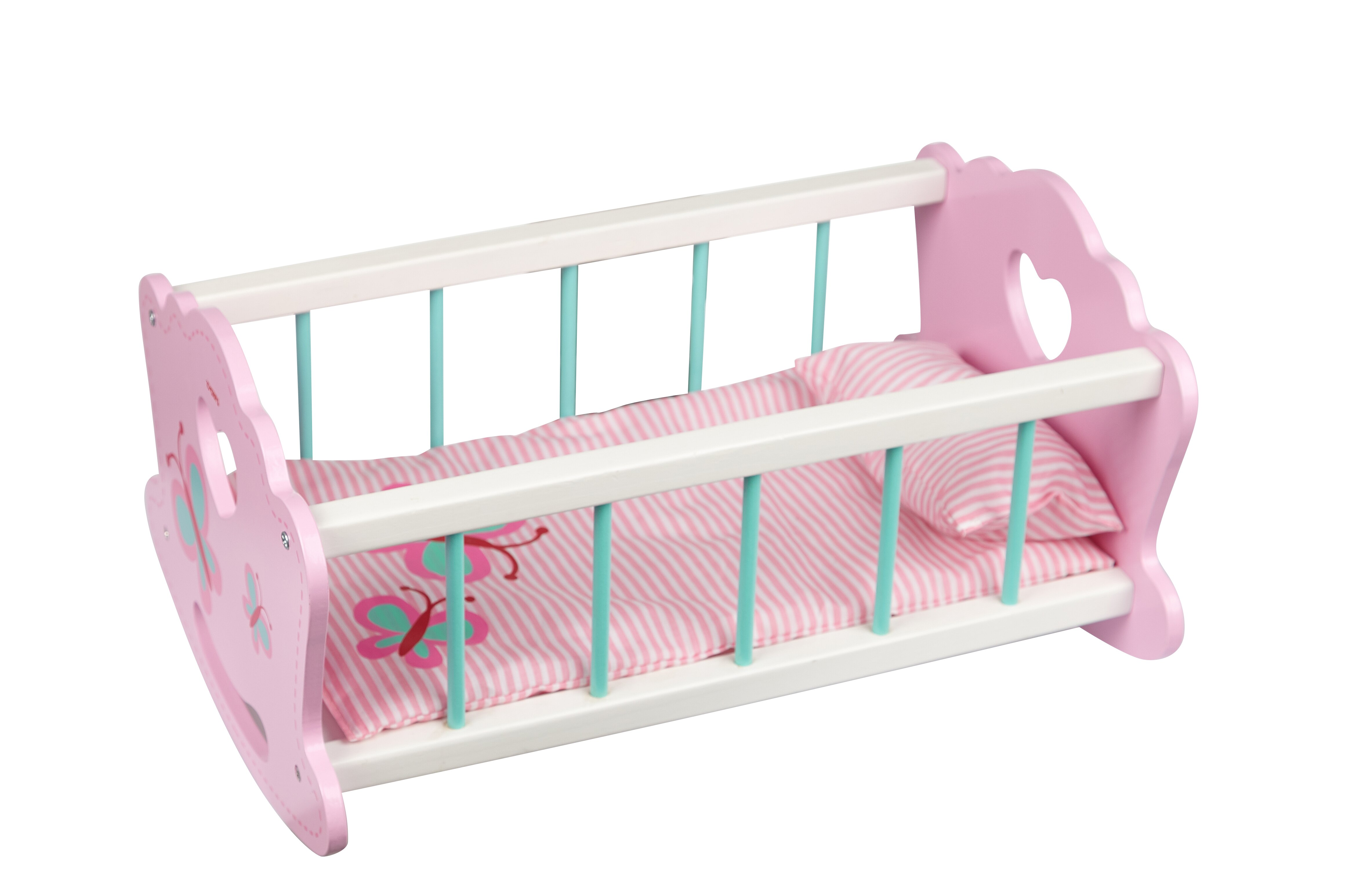 Toyster\'s Wooden Baby Doll Rocking Cradle.