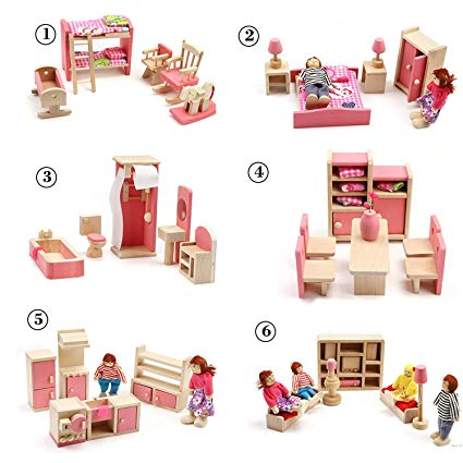 Amazon.com: Huayao 6 Set Wooden Dollhouse Toys with 4 People.