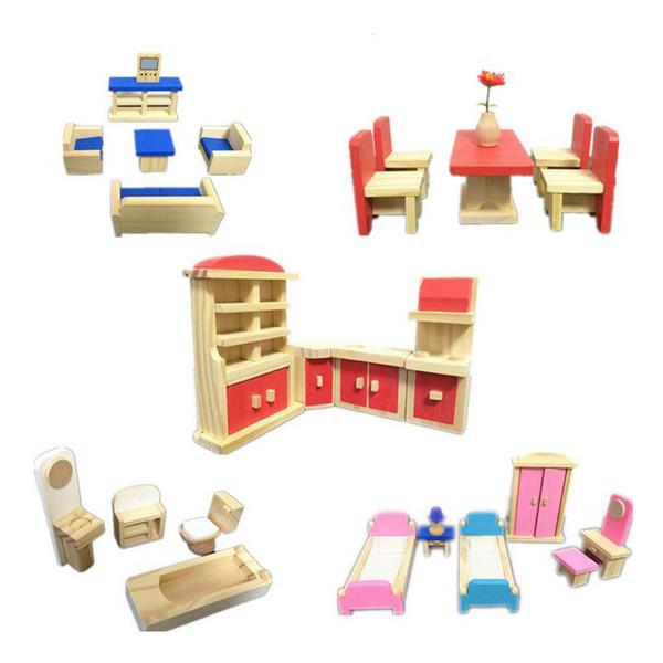 Wooden Handmade Dollhouse Furniture Miniature 1:12 Toys Miniature Furniture  Doll For Kids Play Pretend Educational Toy Dollhouses Kits Dolls House.