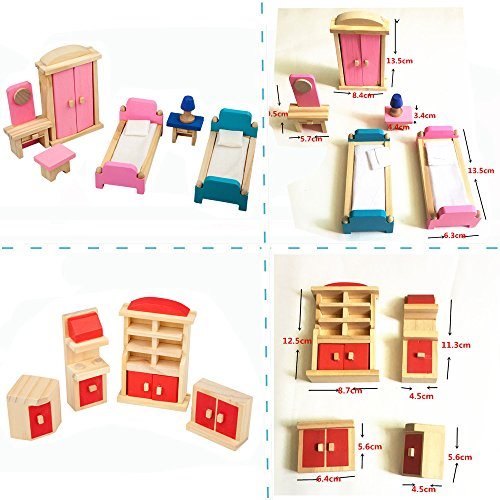 Giraffe 5 Set Colorful Wooden Doll house Furniture, Wood.