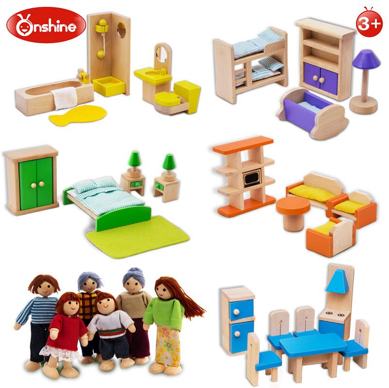 Onshine Simulation Room Furniture Toys Wooden Doll Bathroom.