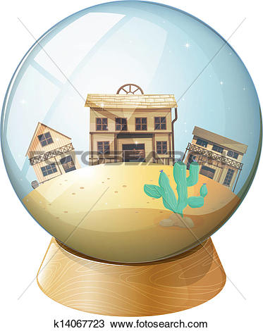 Clipart of Wooden houses inside a dome k14067723.