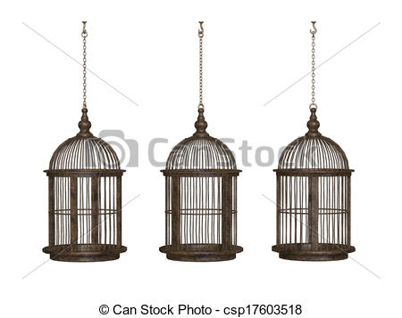Clipart of wooden ancient bird cage csp17603518.