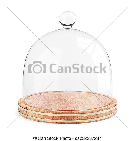 Stock Illustration of Glass dome on the wooden plate isolated on.