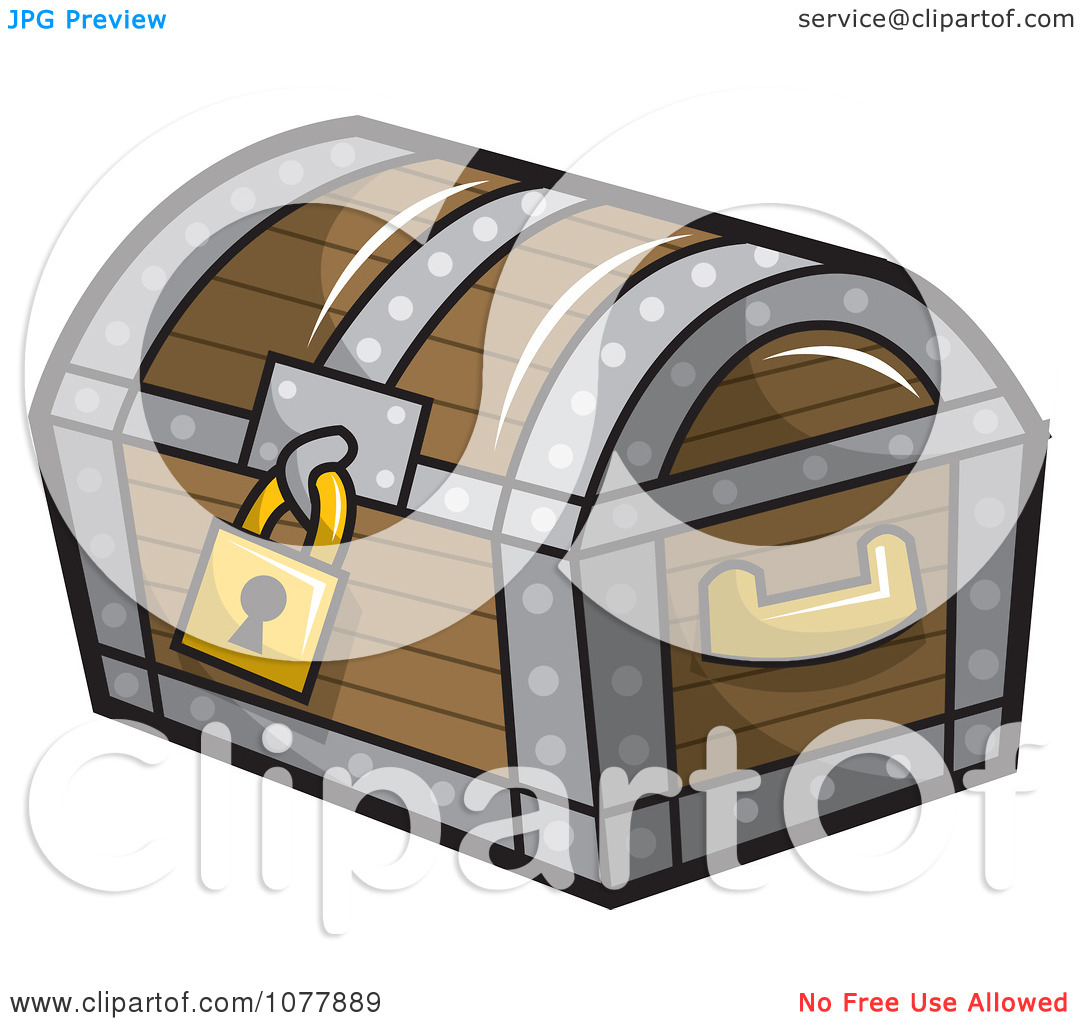 Clipart Locked Wooden Treasure Chest.