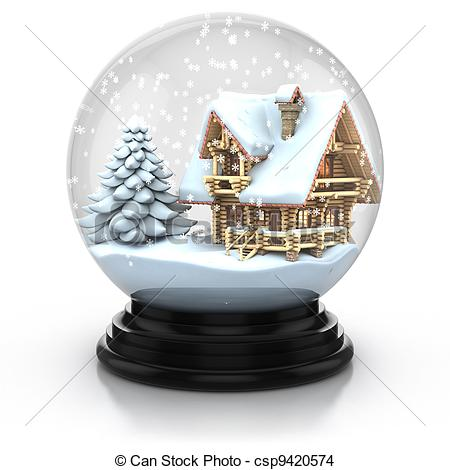 Drawing of glass dome winter scene.