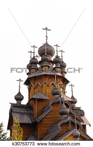 Stock Photo of wooden dome of the old church on a white background.