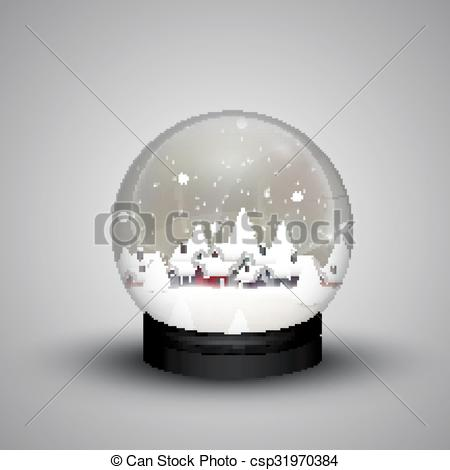 Vector of Glass dome winter in wooden house.