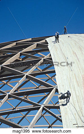Stock Image of workers build dome wood construction mag1395.