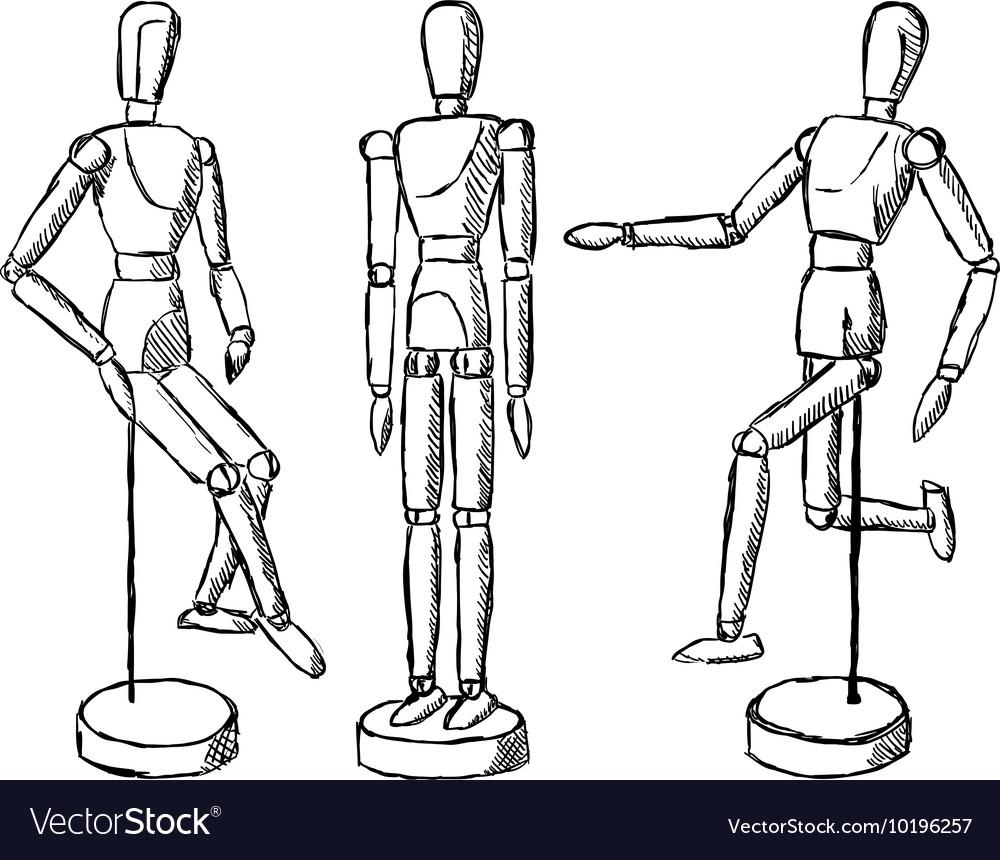 Wooden mannequin art figurine vector image.