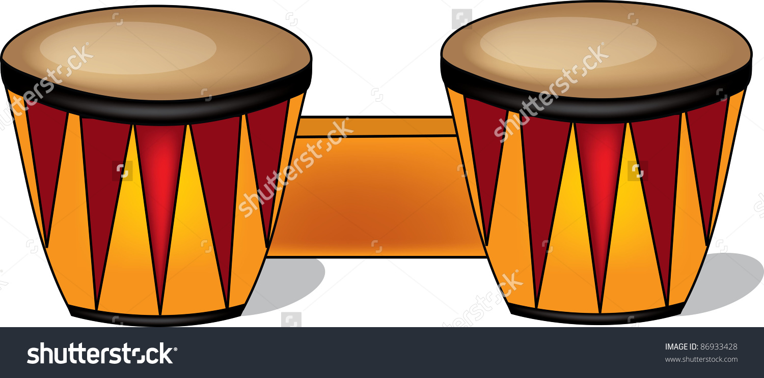 Clip Art Illustration Wooden Bongo Drums Stock Illustration.