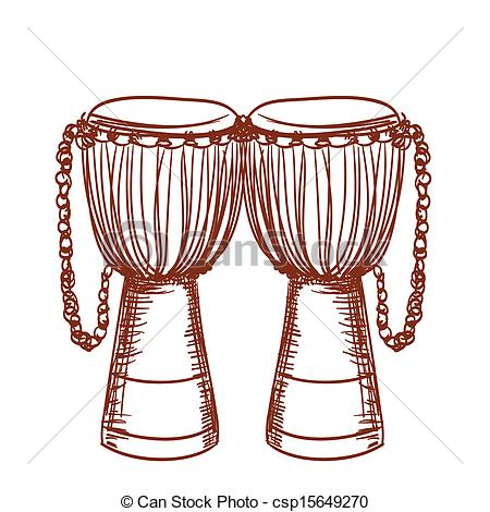 Vectors Illustration of hand drawn african wooden djembe drum.
