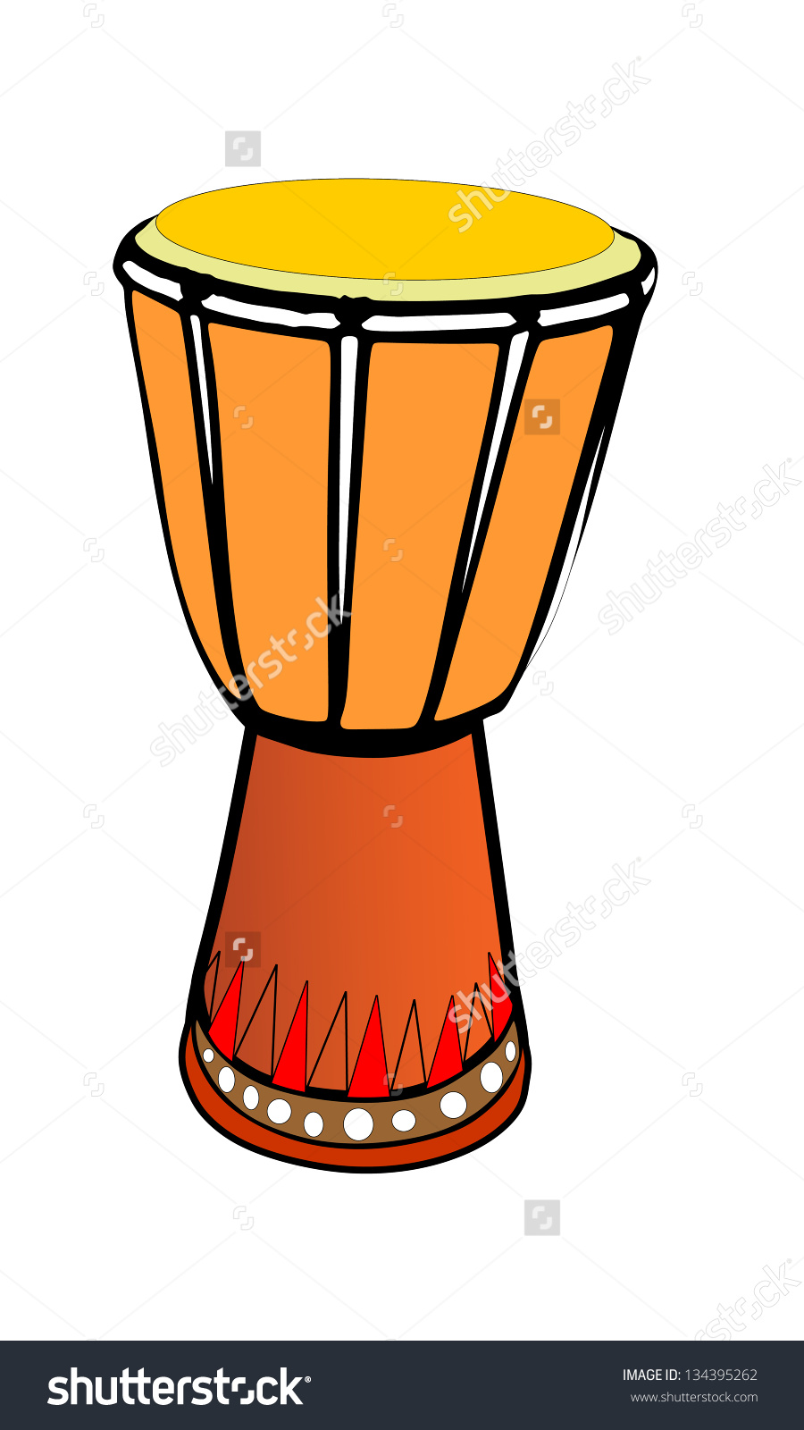 African Wooden Djembe Drum Illustration Isolated Stock Vector.