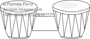 Black and White Clip Art Illustration of Wooden Bongo Drums.