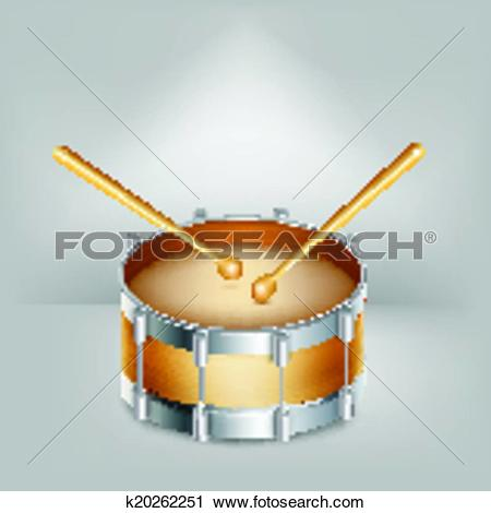 Clipart of Wooden drum and drumsticks. Vector k20262251.
