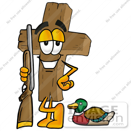 Clip Art Graphic of a Wooden Cross Cartoon Character Duck Hunting.