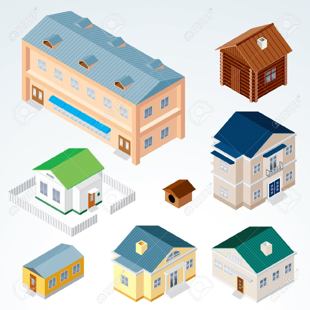 Set Of Isolated Isometric Buildings, Illustration Of Various.