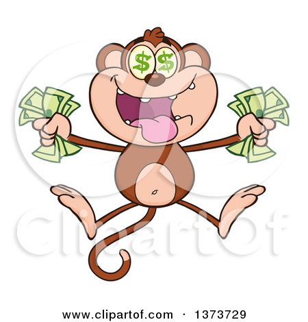 Cartoon Clipart of a Black and White Happy Monkey Mascot Holding a.