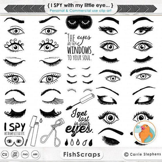 Eye ClipArt Images, Eyelashes Graphic Design, Trendy Woman Beauty.