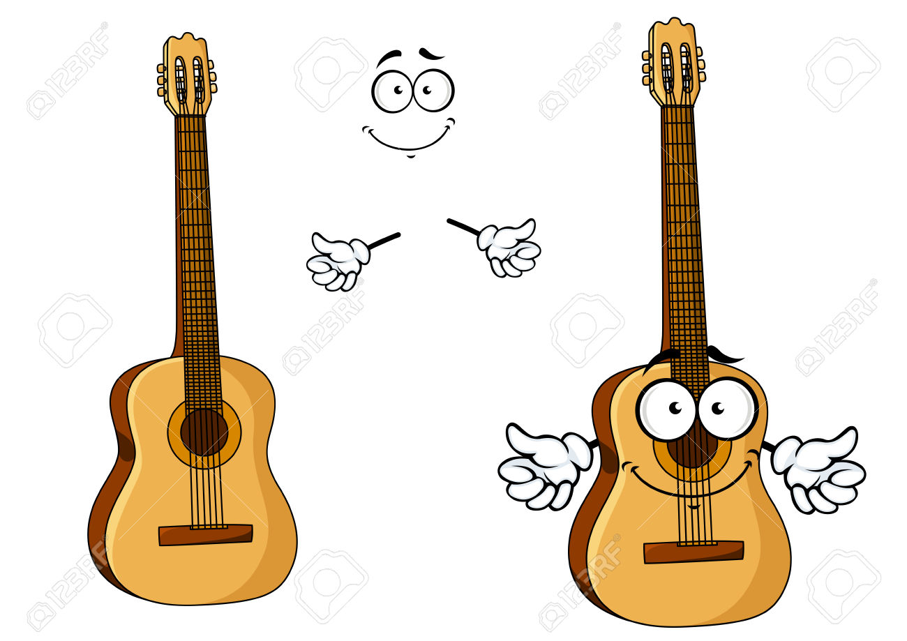 Happy Cartoon Wooden Acoustic Guitar Character With Googly Eyes.
