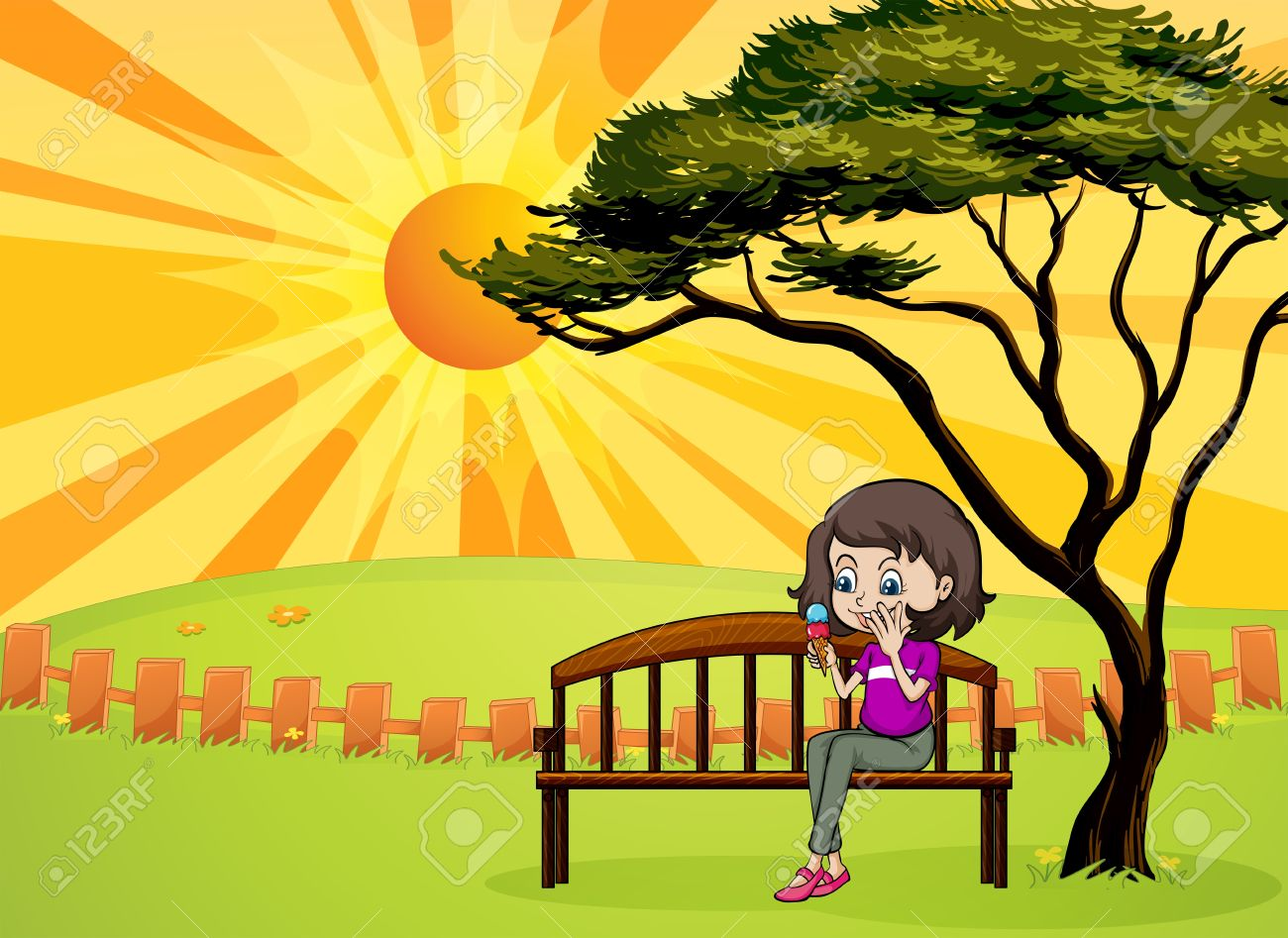 Illustration Of A Girl In The Park Sitting In The Wooden Bench.