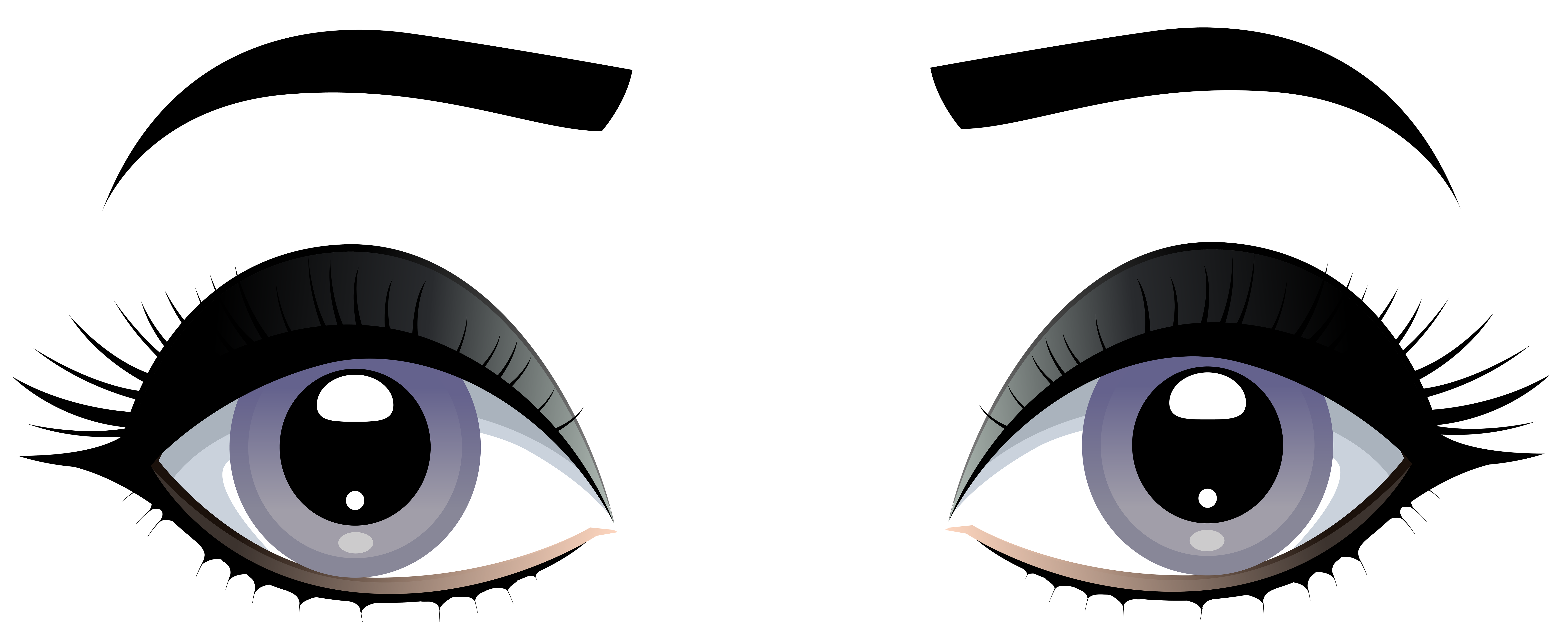 Female Grey Eyes with Eyebrows PNG Clip Art.