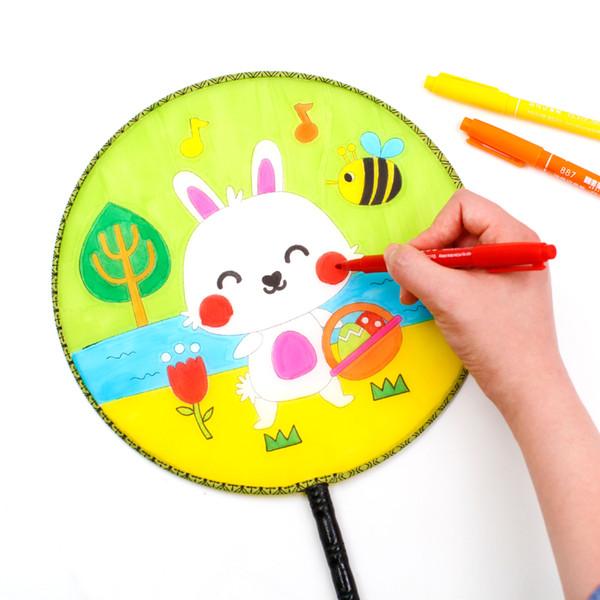 2019 Blank White Round Fan Wooden Handle Kidgarden Art Class Tassel  Children Kids DIY Painting Training Art Painting Fun Chinese Hand Fans From.