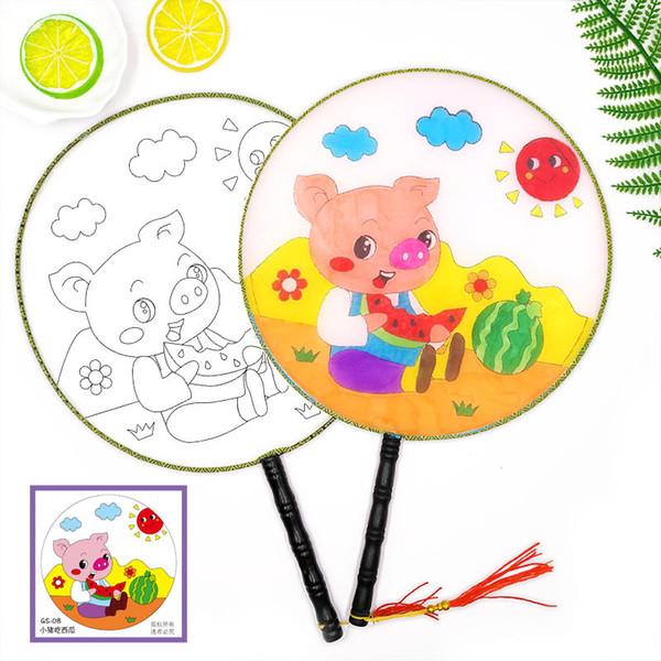2019 Hot! Blank White Round Fan Wooden Handle Kidgarden Art Class Tassel  Children Kids DIY Painting Training Art Painting Fun Chinese Hand Fans From.