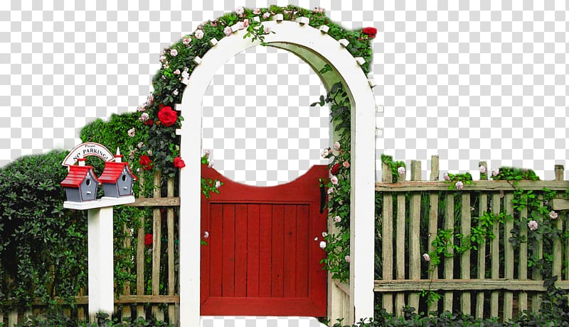 White wooden arch with white petal flowers, House Garden.