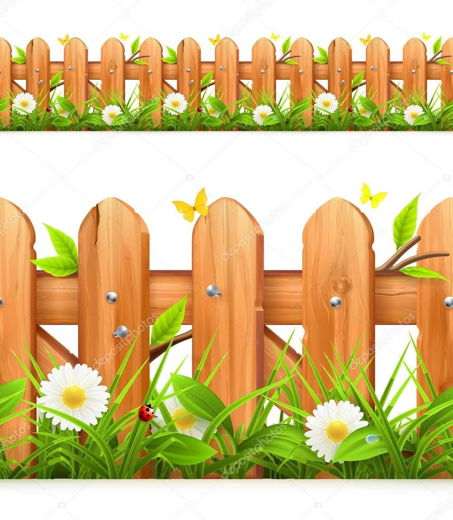 Grass and wooden fence seamless border, vector illustration.