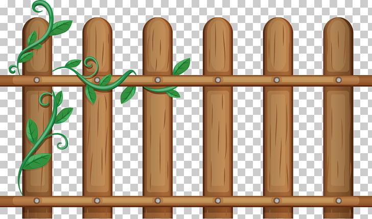 Gate Illustration, vines Fence, brown wooden fence art PNG.