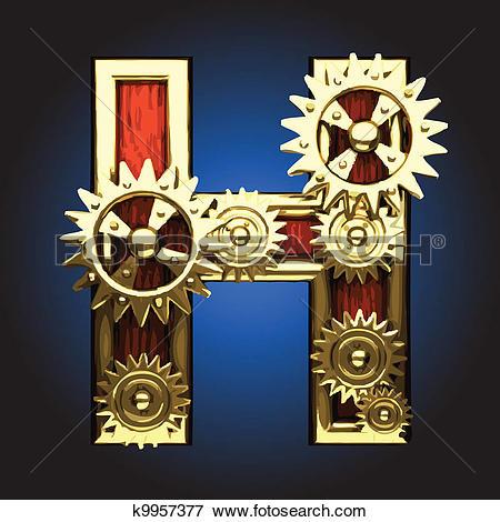 Clip Art of Vector wooden figure with gears k9957377.