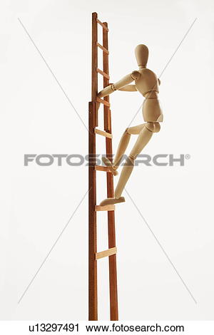 Stock Photography of Wooden figure climbing ladder, white.